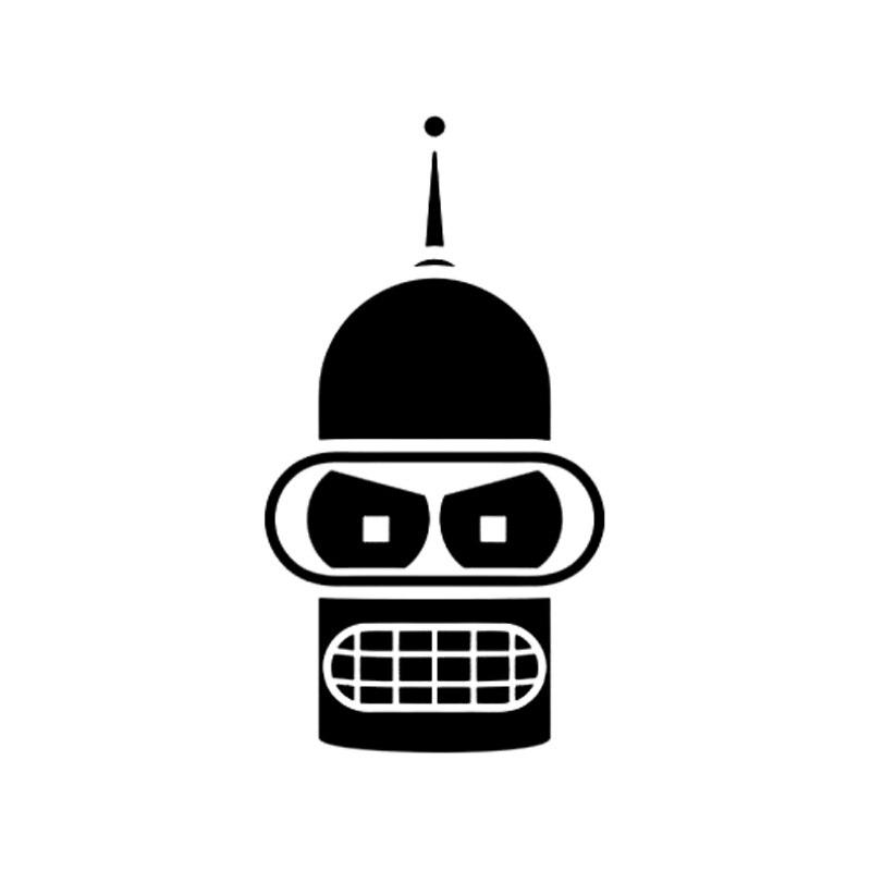 8.2cm*15.3cm Bender Face Cartoon Fashion Car Styling Stickers Decals Vinyl Black/Silver S3-5353