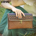 KEENICI National Trend New Handmade Women Wallet Embroider Purse Mobile Phone Bag Coin Bag Embroidered Lock Woven Clutch Vintage