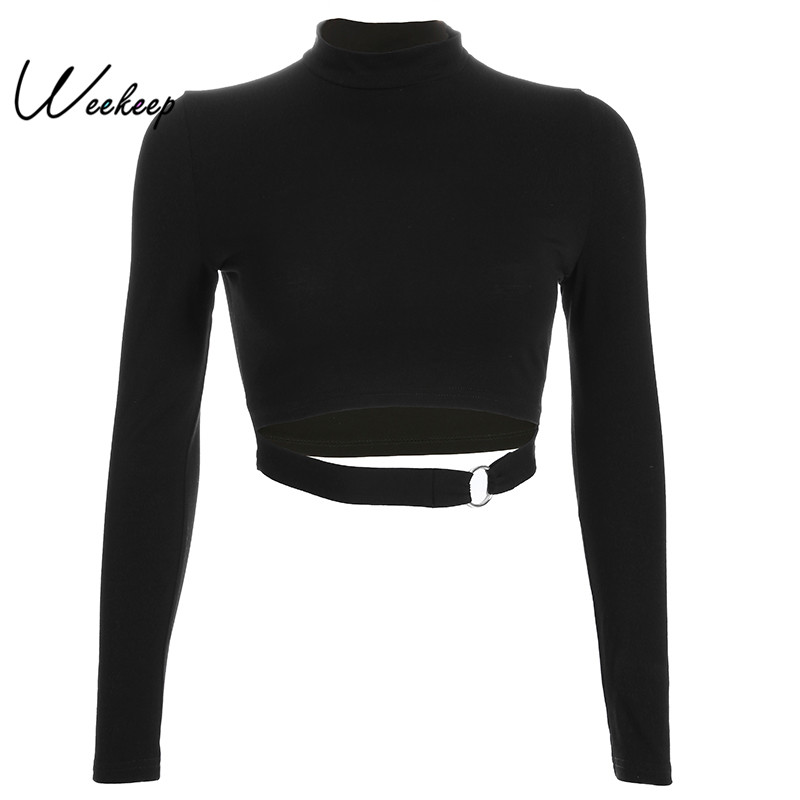 Weekeep Black Hollow Out Long Sleeve T-shirt Women Sexy Cropped Knitted Tshirt Streetwear Fashion Crop Top