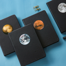 The Planet Hard Cover Black Papers Business Notebook Journal Diary Blank Sketchbook Stationery Gift