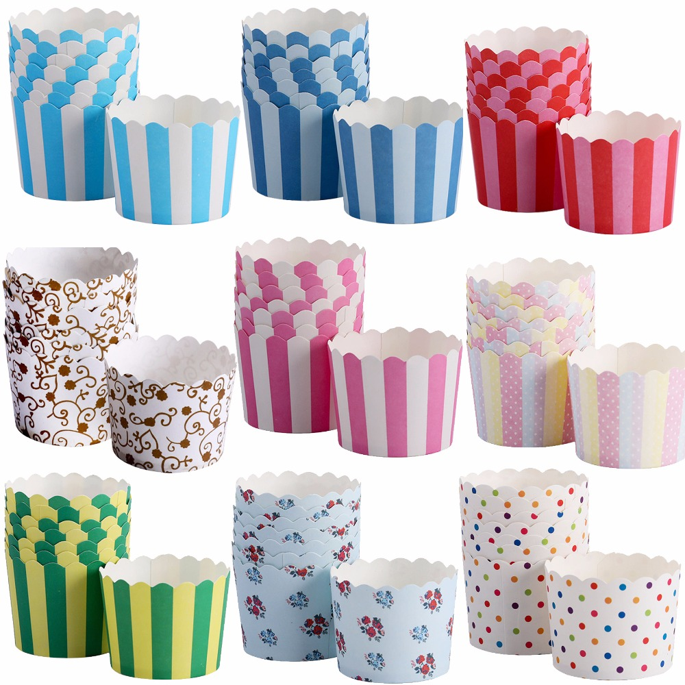 50pcs White Background Black Dots Muffin Cupcake Paper Cups Party Cups Wedding Birthday Party Decoration Disposable Tools