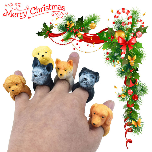 Shari Pi Dog Hand Puppets Role Play Realistic Dog Head Ring Head Finger Soft Toy