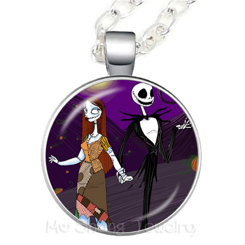 Nightmare Before Christmas Jack Skellington Necklace Glass Christmas Gifts Pendant For Women Kids