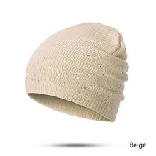 CANCHANGE 2019 nowe czapki zimowe damskie bawełniane czapki Skullies stałe ciepła gorąca sprzedaż damska z dzianiny czapki zimowe z rhinestone tanie tanio Skullies czapki Poliester Bawełna Dorosłych Kobiety Na co dzień S8R0104022 GODZINY beige navy black white red gray