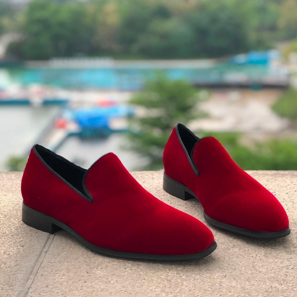 Vino Rosso Velluto Fannulloni Degli Uomini di Casual Scarpe Comfort di Guida Giornalieri Scarpe