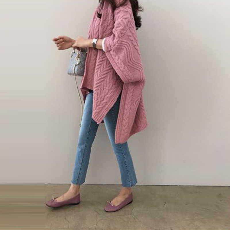 2019 Spring Fashion Korean Women Batwing Sleeve Kimono Cardigan Long Knitted Sweater Cape Tops Femme Sweaters Sueter Mujer
