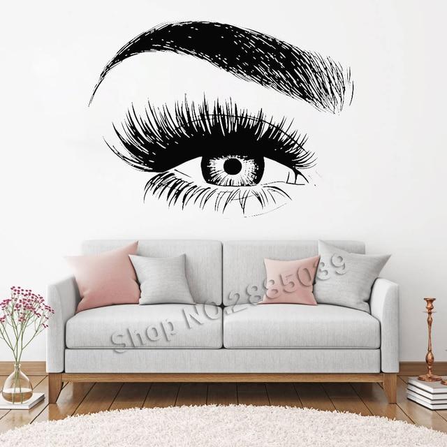 new design eye eyelashes wall decal sticker lashes eyebrows brows