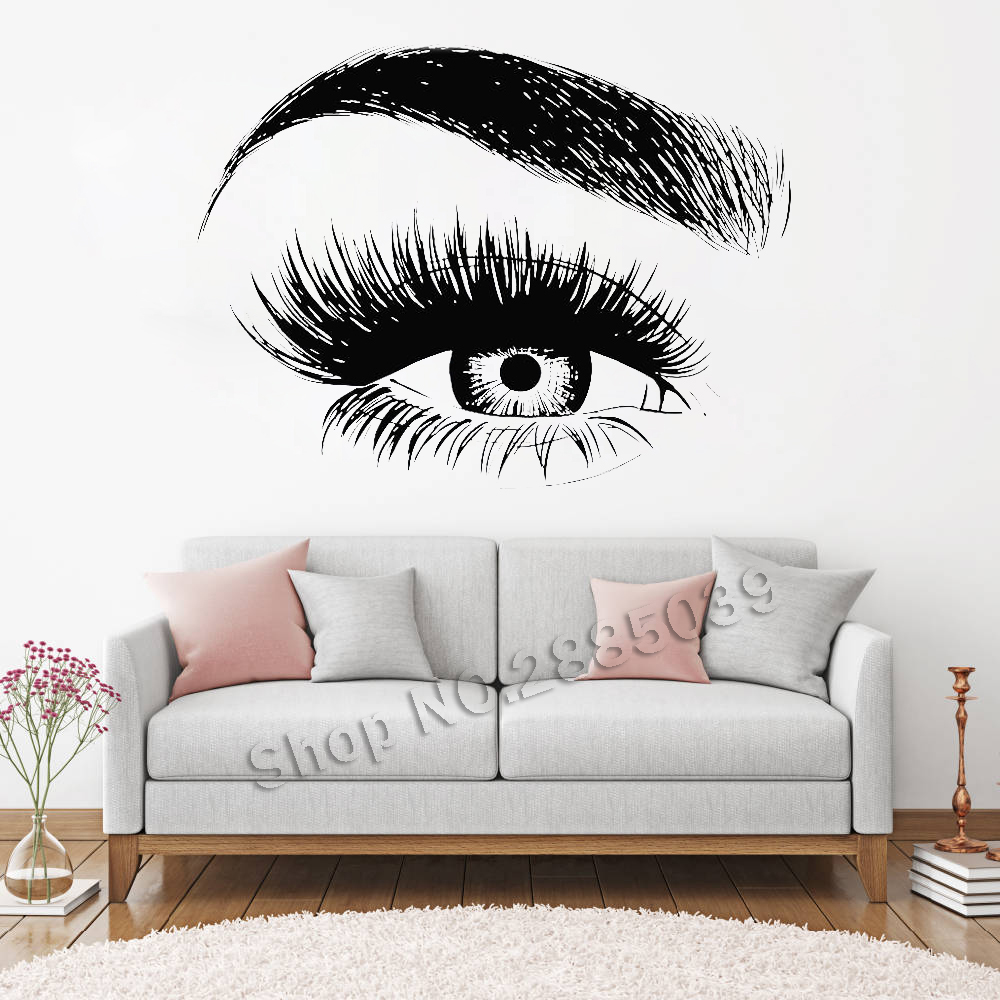 New Design Eye Eyelashes Wall Decal Sticker Lashes Eyebrows Brows Beauty Salon Quote Make Up Vinyl Girl Room Wall Stickers LC138