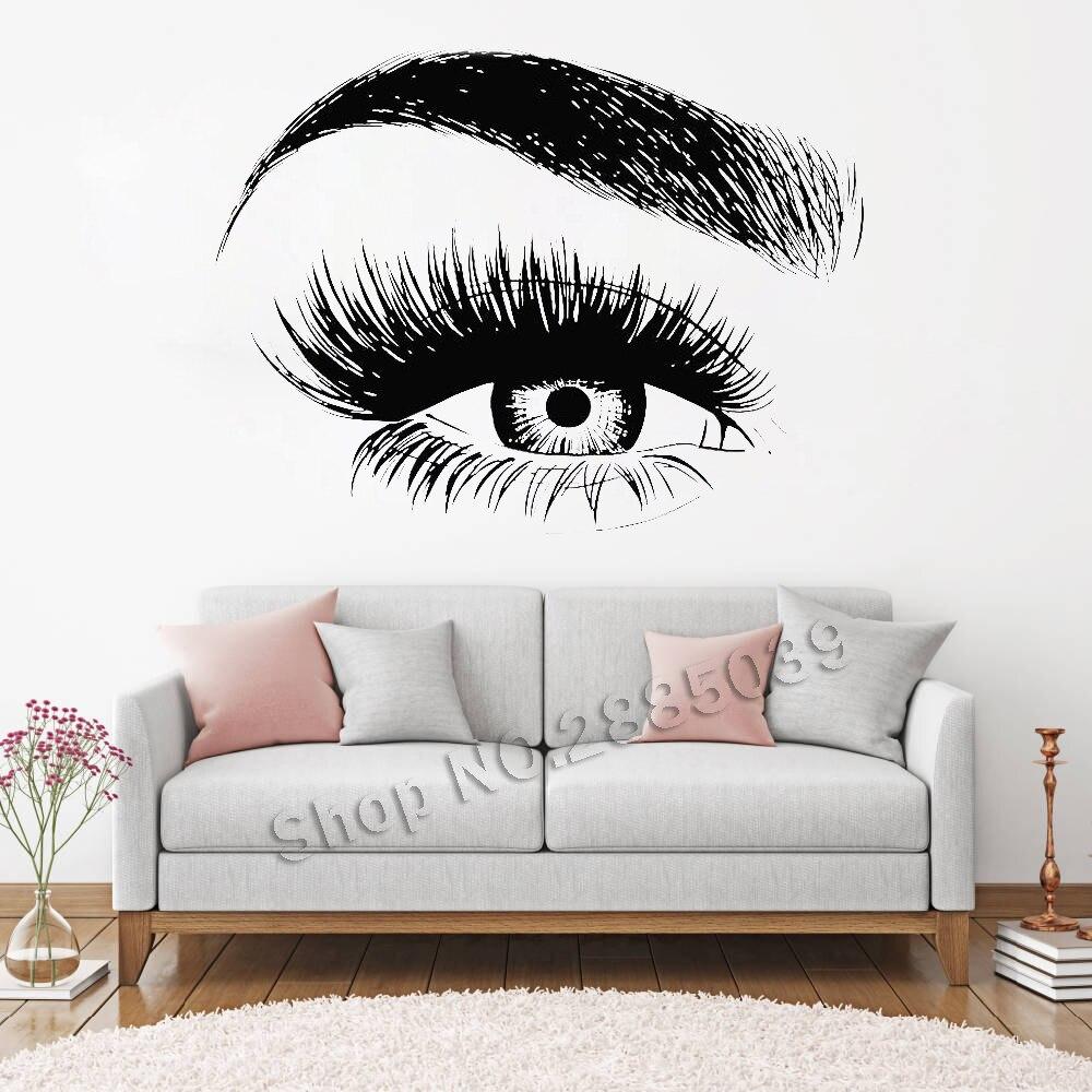 Nuevo diseño ojo pestañas etiqueta de la pared pestañas cejas cita del salón de belleza maquillaje vinilo pared pegatinas LC138