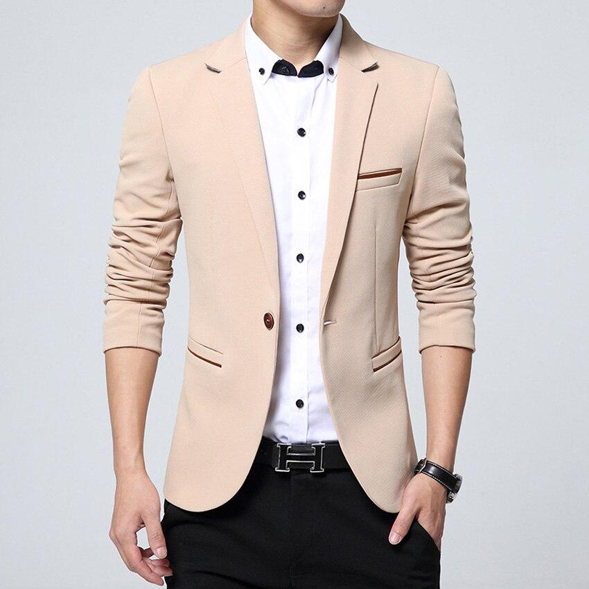 mens korean slim fit fashion cotton blazer suit jacket black blue. Black Bedroom Furniture Sets. Home Design Ideas