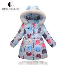 New Arrival Girls Winter Down Jacket Children Cartoon Animal Print Coat Baby Girls Hooded Outerwear Winter Jacket For Girls