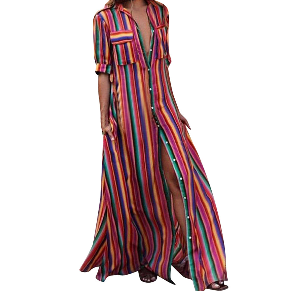 18bc9c3d13b42f Detail Feedback Questions about 2018 Women Summer Dress sarafan female  Striped Multicolor Loose Button Boho Robe Long Dresses Beach Sundress  vestidos verano ...