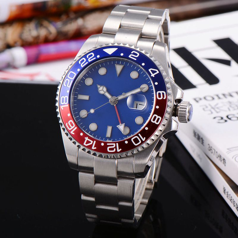 Corgeut 43mm GMT Sapphire Glass Red&Bule Bezel Blue sterial Dial steel automatic date and water resistant Luminous men Watches 41 mm corgeut sterial black dial red bezel sapphire glass luminous wrist watch japan miyota automatic mens water resistant watch