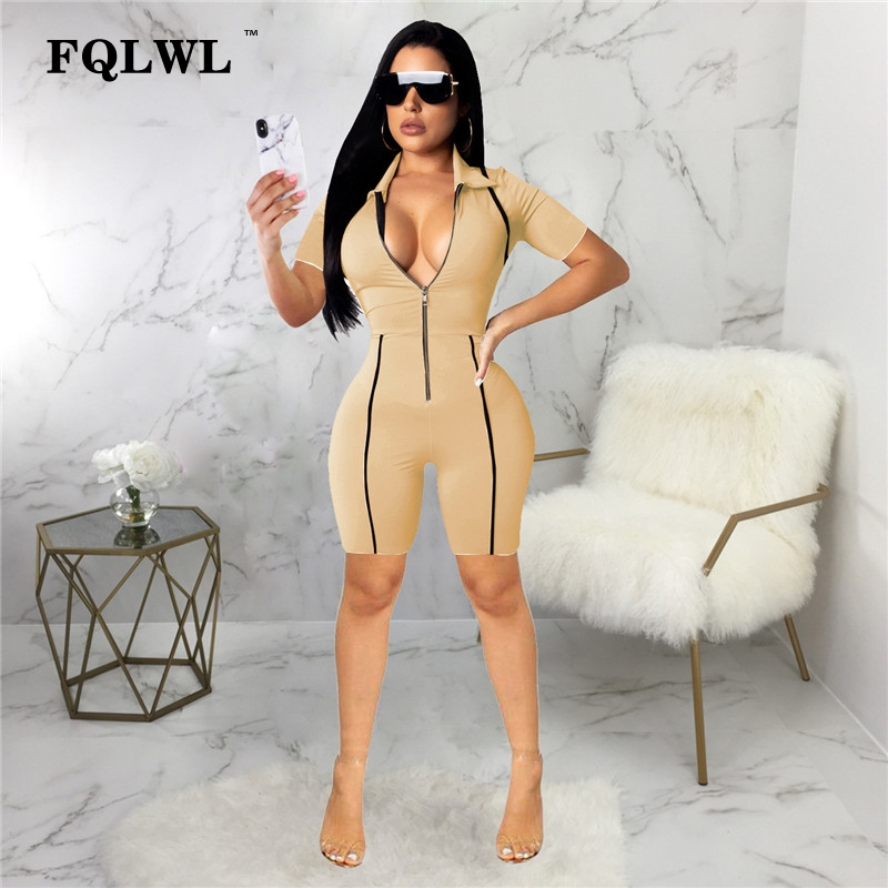FQLWL Deep V Neck Black Pink Bodycon Summer Jumpsuit Short Playsuit Long Sleeve Zipper Ladies Sexy Romper Womens Jumpsuit Female