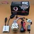 Motocicleta HID Bi xenon lente del proyector Retrofit faro luz Kit CCFL doble doble ángel Halo de los ojos H4 H7 4300 K 6000 K 8000 K
