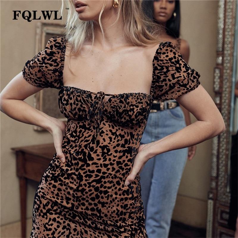05f5695bba7 FQLWL vendaje Sexy Club leopardo Vestido Mujer espalda descubierta manga  corta Bodycon Mini vestido de verano 2019 Wrap lápiz corto vestidos de  fiesta