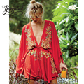 Bohemian Short Dress Women beach style cotton embroidered deep V-neck drawstring Waist Long Sleeve women brand clothing 3