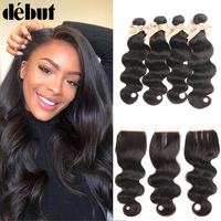 Debut Peruvian Hair Weave Bundles With Closure Body Wave 3/4 28 Inch Human Hair Bundles With Closure Non Remy Hair Extension