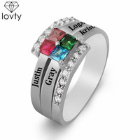 lovty Personalized Engraved Name Ring with 4 Birthstone Customize Ring Mother's Day Gift for Mom Wholesale & Dropshipping