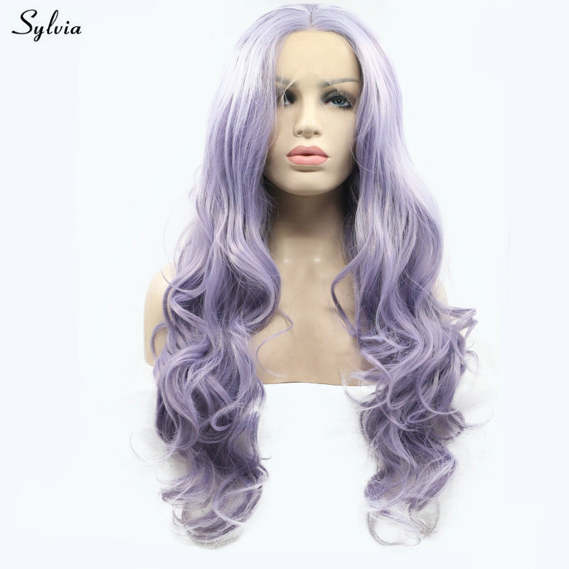Synthetic Wigs Sylvia Glueless Lace Front Women Wig Fluffy Natural Straight White Wig Synthetic High Temperature Fiber Wig For Lady Party Wigs 100% High Quality Materials Synthetic None-lacewigs