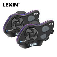 2019 LEXIN LX FT4 2PCS 1 4 Rider Motorcycle Bluetooth Helmet Headset Intercom with FM radio for Motorcycle/Off Road/Snowmobile