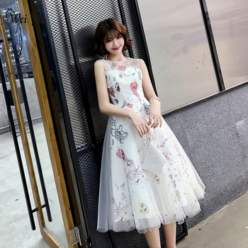 wei yin 2020 New Women Elegant Lace Evening Dresses O-Neck A-Line  Sleeveless White Casual Party Dress WY1768