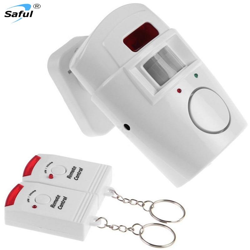 Sistema doméstico Sensor de movimiento infrarrojo IR Detector de seguridad de alarma Monitor de alarma 105dB Sistema de alarma inalámbrico + 2 controles remotos