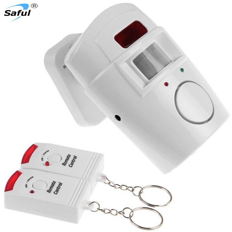 La maison Système IR Infrarouge Motion Sensor D'alarme de Sécurité Détecteur 105dB Moniteur D'alarme Sans Fil système D'alarme + 2 les contrôleurs à distance