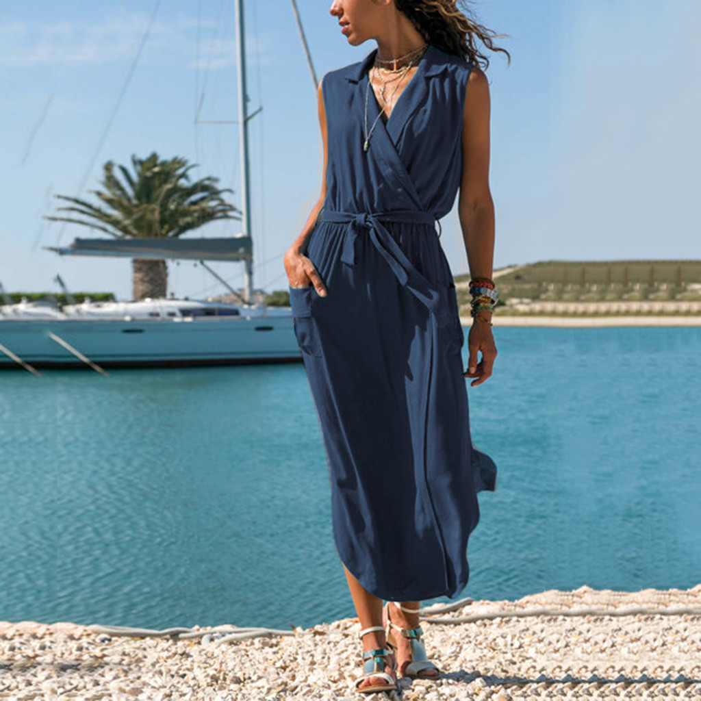 2018 Spring Women Dresses Women Casual Sleeveless Solid Cross V-Neck Pockets Belt Loose Maxi Long Dress  vestidos verano