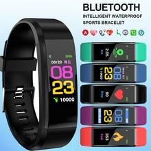 Новые ID115 плюс цветной экран браслет спортивные часы фитнес бег ходьба трекер модные детские часы для мужчин женщин и детей