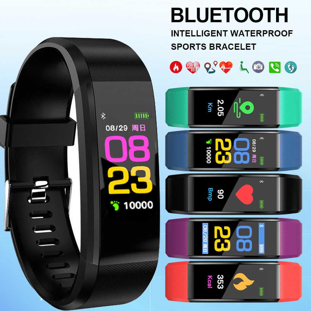 חדש ID115 בתוספת צבע מסך צמיד ספורט שעון כושר ריצה הליכה גשש אופנה לילדים שעונים עבור גברים נשים ילד