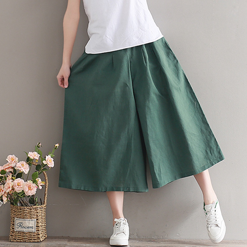Summer Woman Casual Trousers Cotton Linen Pants Loose Trousers Wide Leg Pants Elastic Waist Vintage Harem Thin Pants
