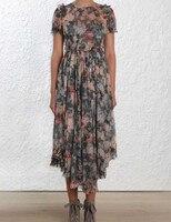Для женщин короткий рукав уголь промывали Цветочный принт излучают плиссированное платье Асимметричный шелковое платье миди