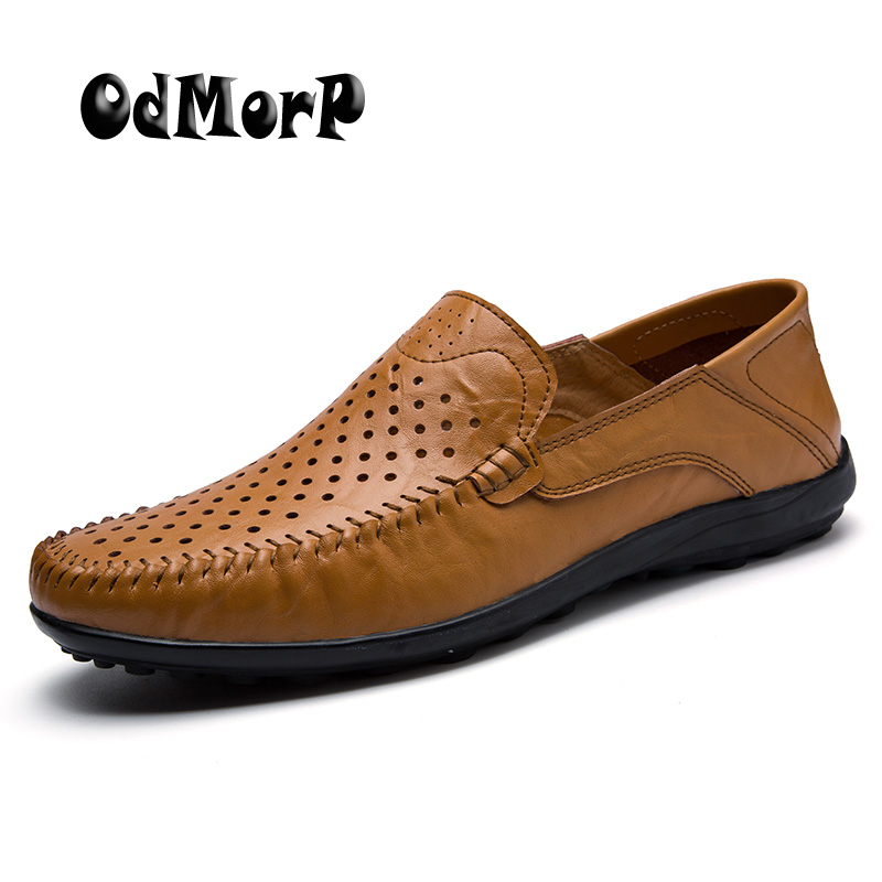 ODMORP Big Size 38-47 Slip On Casual Shoes Men Loafers Breathable Hollow Leather Flats Summer Men Shoes Driving Moccasins