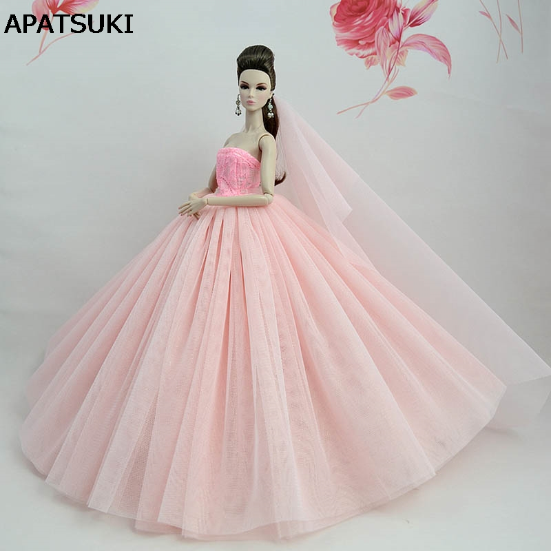 Light Pink Doll Dress For Barbie Doll High Quality Long Tail Evening Gown Clothes Wedding Dress +Veil 1/6 Doll Accessories
