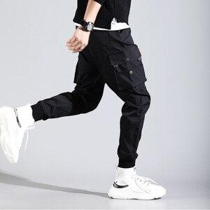 Image 4 - ヒップホップ男性 Pantalones やつ高ストリート Kpop カジュアルカーゴパンツ多くポケットジョギング Modis ストリートズボン原宿