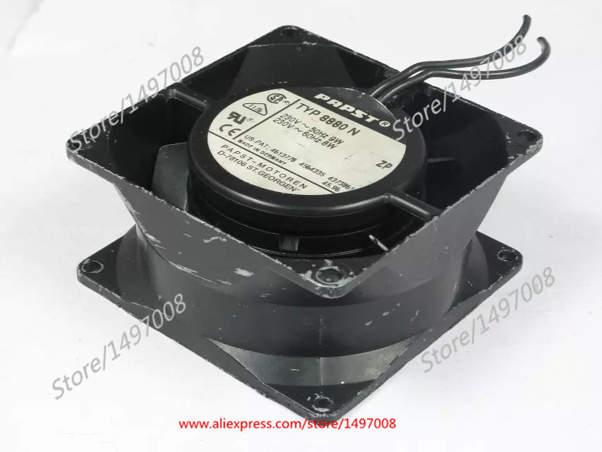 ebm papst   TYP 8880 N AC 230V 50/60HZ  80mm 80x80x38mm Server Square  fan ebm papst 4800z 4800 z ac 115v 0 16a 0 14a 13w 12w 120x120x38mm server square fan