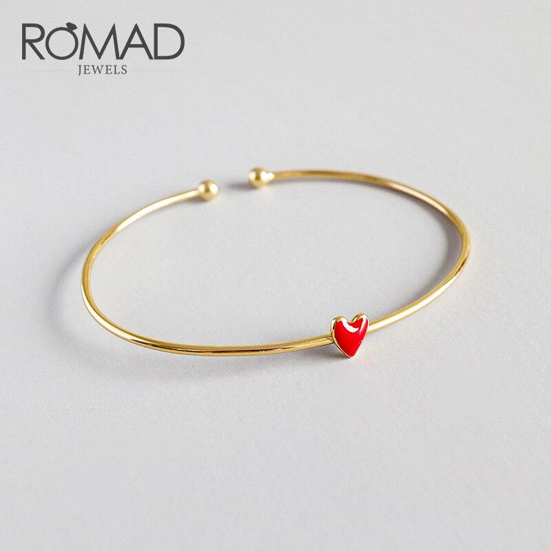 Genteel Romad Heart Shape Charm Bracelet Bangles For Women Girls Opening Adjustabl Bracelets Bangles Female Diy Jewelry Dropshipping R4