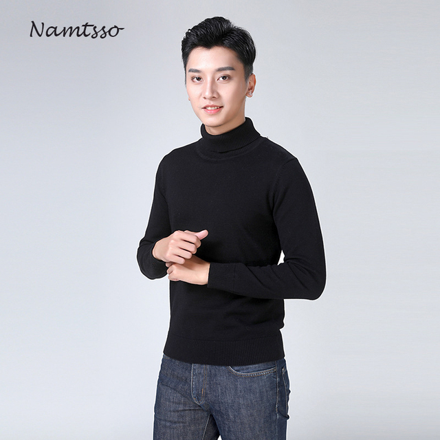 100% cotton sweater mens 2018 winter turtleneck Long sleeve sweater Thicken Solid color sweater cotton slim bottoming shirt 866