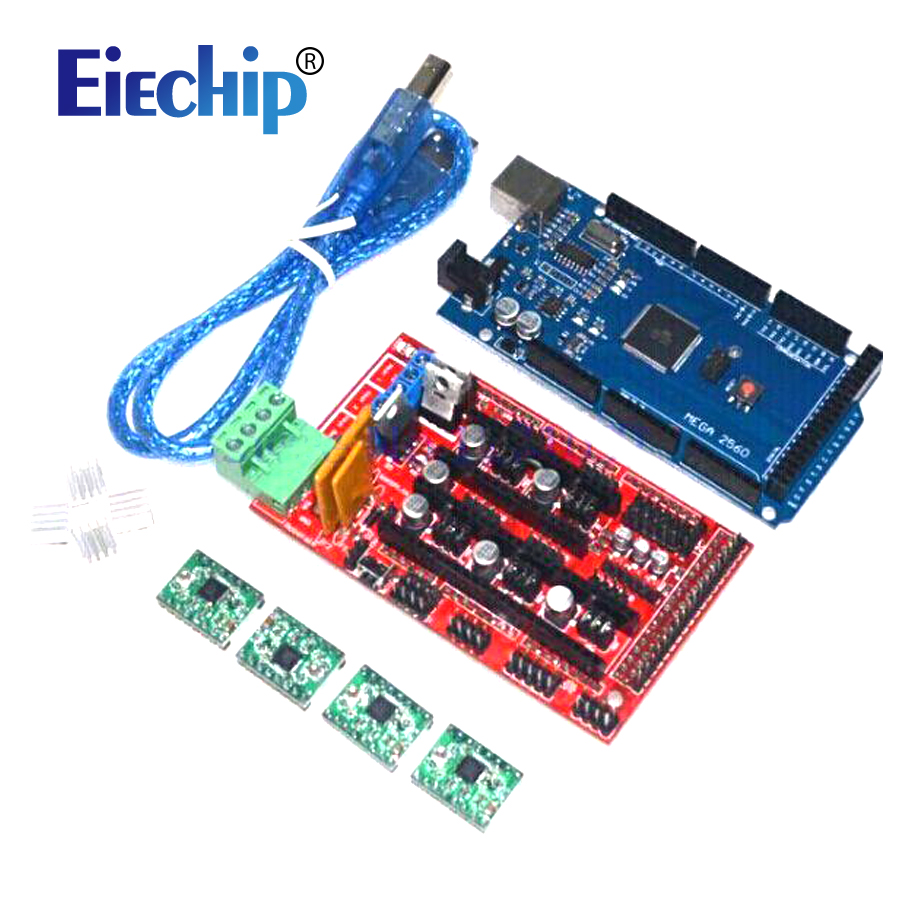 Free shipping Mega 2560 R3+1pcs RAMPS 1.4 Controller+4pcs A4988 Stepper Driver Module for 3D Printer kit Reprap MendelPrusa new mega 2560 ramps 1 4 controller 4pcs a4988 stepper driver module for 3d printer kit for arduino reprap