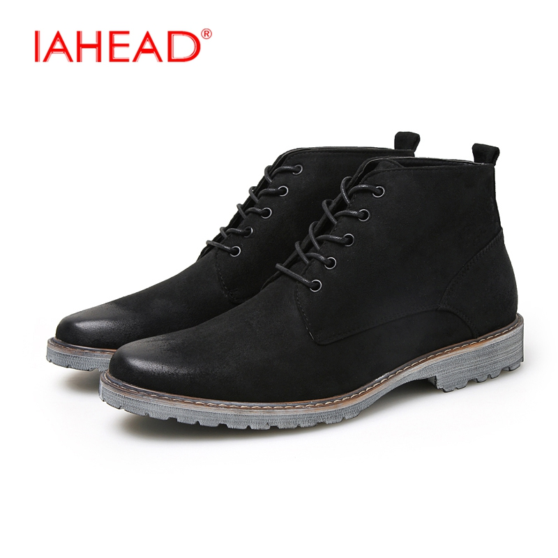 IAHEAD Men Shoes Lace-Up Men Winter Leather Boots Fashion Chelsea Boots Comfortable Soft Rain Shoes Men botas militares MU511 iahead men boots genuine leather flats new casual shoes lace up warm winter boots men plus size 38 48 rain shoes men mh586