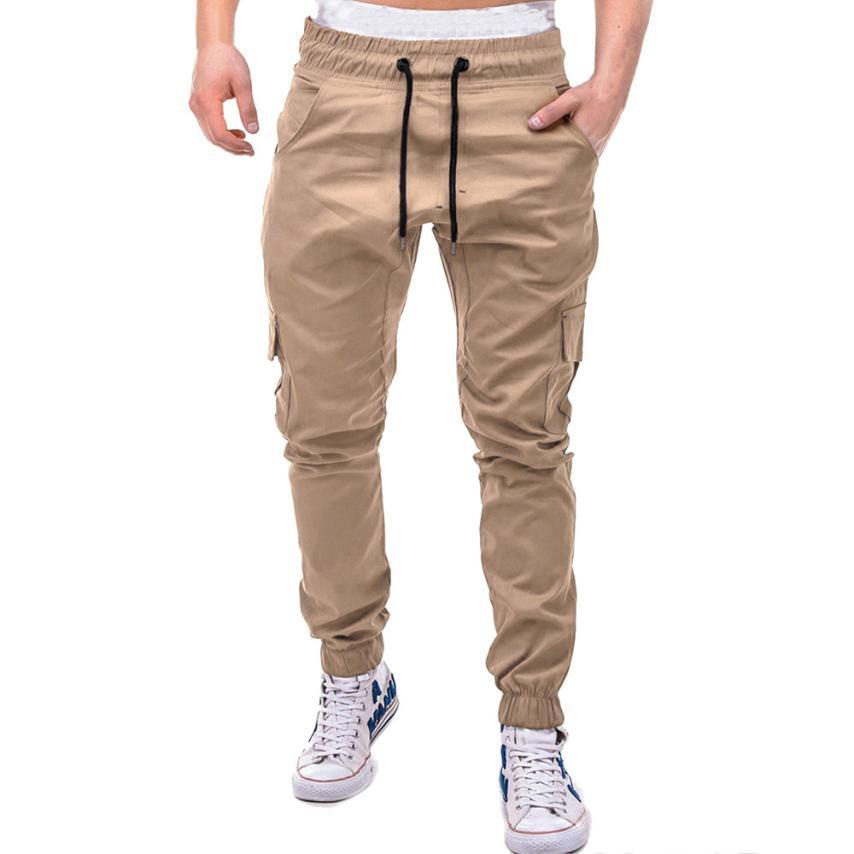 Men's Pants 2018 Fashion Men's Pure Color Bandage Casual Loose Sweatpants Drawstring Pant       july22