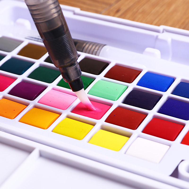 New Portable Solid Watercolor Paint Set 12/18/24/36 Colors Professional Box With Paintbrush Watercolor Pigment Set Art SuppliesNew Portable Solid Watercolor Paint Set 12/18/24/36 Colors Professional Box With Paintbrush Watercolor Pigment Set Art Supplies