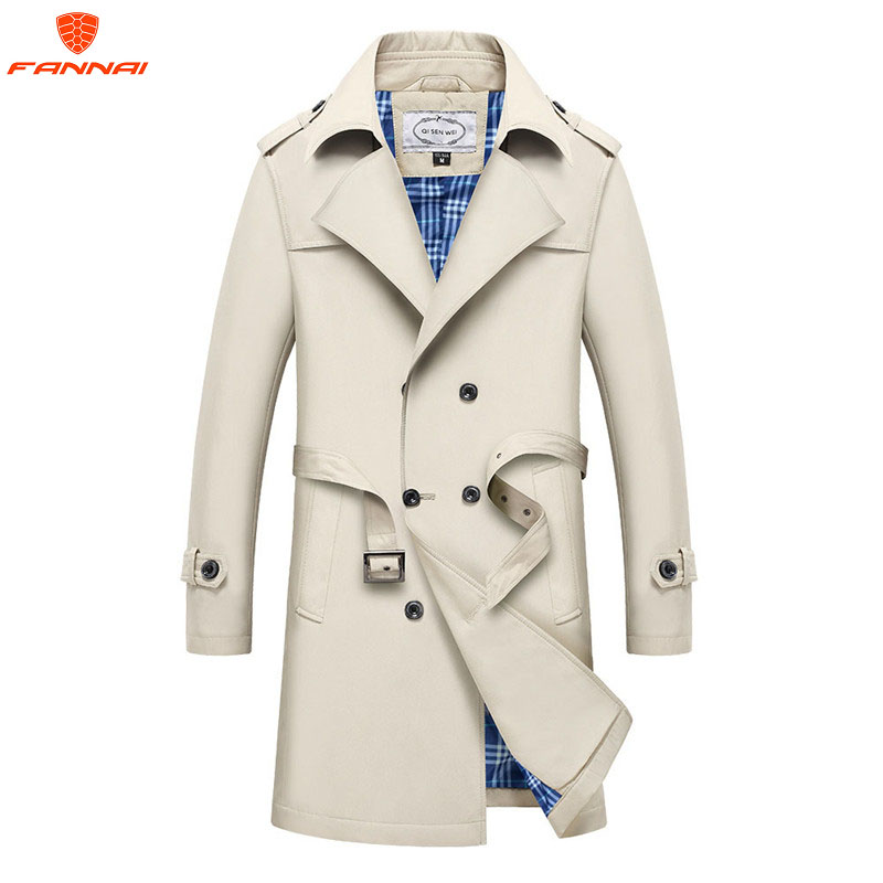 2019 New Leisure Large  Size Men's Overcoat Long Double Breasted Trench Coats Spring And Autumn Jacket Coat  Men Trench Coat