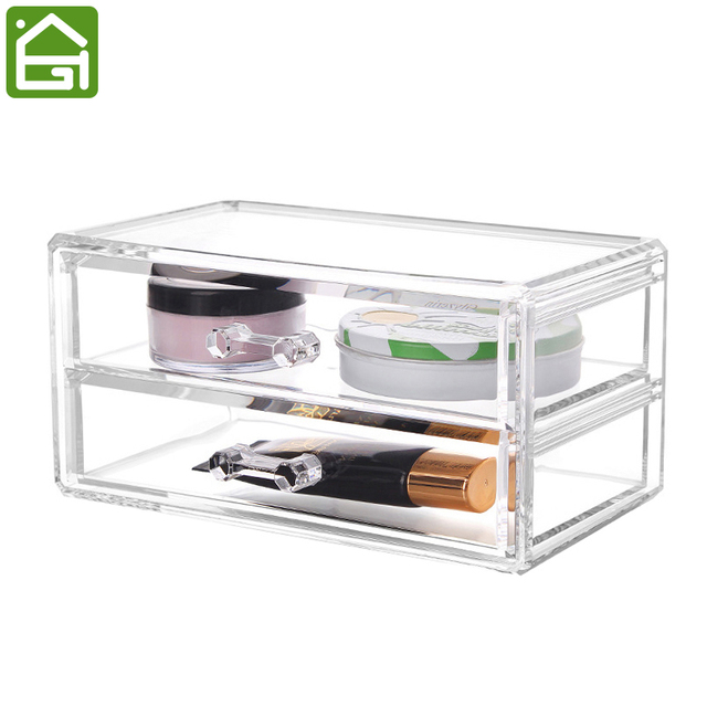 2 Layers Crystal Acrylic Jewelry Makeup Organizer Cosmetic Rack