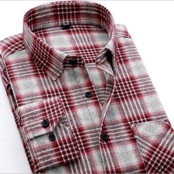 257c66a8ff 2019 nuevos hombres de manga larga a cuadros camisas casuales 100% franela  de algodón de corte Slim de hombre de moda de negocios
