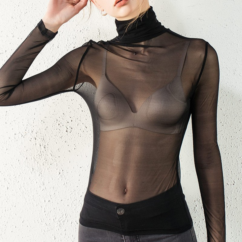 2019 Sexy Women Blouses See Through Transparent Mesh Stand Neck Long Sleeve Sheer Blouse Shirt Ladies Tops Tee Plus Size