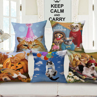 18 Styles Dog Cat Party Sofa Custom Cushion Covers Flying Kitty Decorative Pillows Covers Christmas Halloween