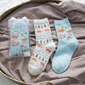 2 par/lote Nova Moda Inverno quente Da Moda Engraçado Meias Mulheres Dos Desenhos Animados Kawaii Padrão Urso Meias de Algodão calcetines chaussette