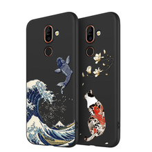 2019 Emboss Phone Case For Nokia 7 Plus cover Kanagawa Waves Carp Cranes 3D Giant relief